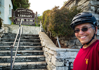 SEPTEMBER - For my first ride I went across the hill to Lunada Bay.  I am stopping at Malaga Cove Library before starting the climb back home.