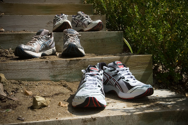 Starting tomorrow, I will rotate in a previously unused third pair of Asics Kayano 13 running shoes into my training cycle