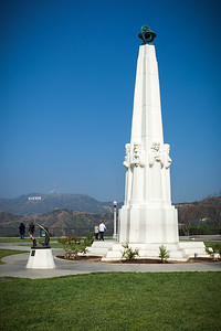 Griffith Observatory Sundial and Obelisk with the Hollywood Sign