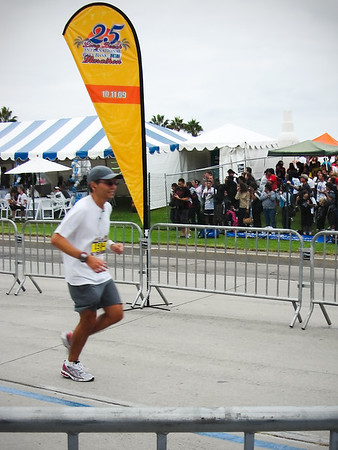 Eric is just a few steps from completing his second marathon (Photo by Nan Iwasaki)