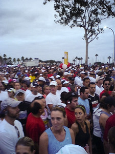 Half and full marathoners are starting together, so this is a big crowd