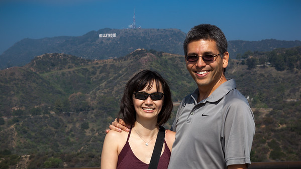 We pose in front of the Hollywood Sign from near the Griffith Observatory