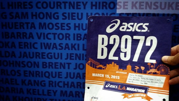 Got bib and race packet, found my name on the wall of fame.