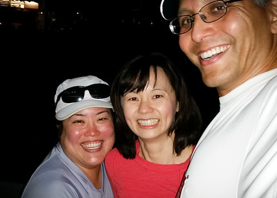 Cheryl, Valerie, and I made it to Dodger Stadium on schedule...though you can't tell where we are with the flash on