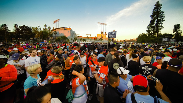 In the starting area looking back towards Dodger Stadium...hanging around the 13 minute per mile crowd