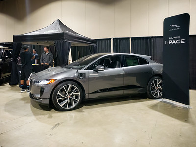 """Interesting...Jaguar is using this venue to promote I-PACE, their all-electric """"SUV"""".  If people criticize the Model X for being too small to be considered an SUV, they obviously haven't seen this Jag."""