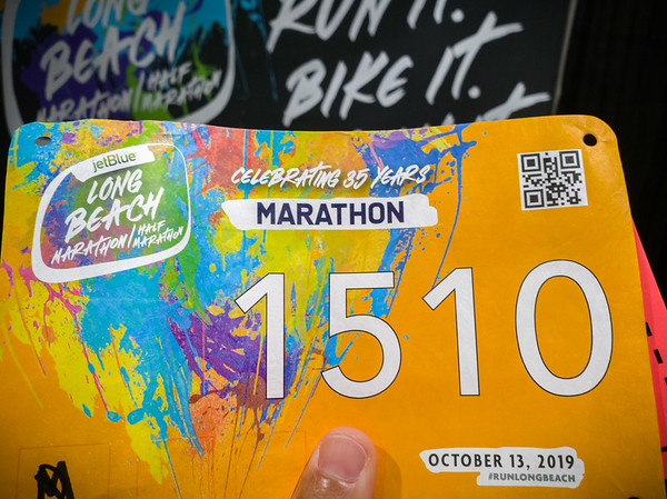 ...to pick up my my bib!  Yes, I am running a marathon, Long Beach's 35th.  My second marathon was Long Beach's 25th, 10 years ago!  Of course I am wearing the finisher's shirt from that race right now!