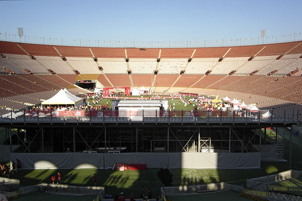 The finish area is on the field just after the tunnel