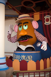 Mr Potato Head draws crowds at California Adventure's newest attraction: Toy Story: Midway Mania!