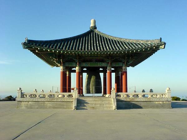 I take a detour through Angels Gate Park to investigate the structure.  It houses the Korean Friendship Bell