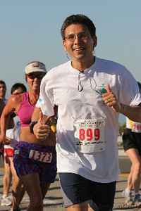 I think I remember this official photo to have been taken during the first two miles.  Note how much I am sweating