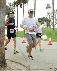 Running around the Long Beach Harbor Lighthouse