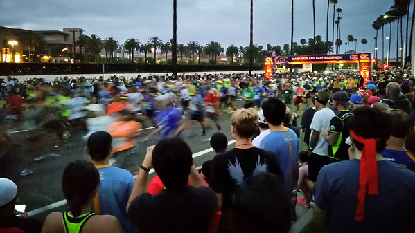 DAY 1 - When I was assigned to take the 5:15 shuttle from the OC Fairgrounds to the start line, I never would have guessed I would be able to catch the beginning of the full marathon.  Did they start late?
