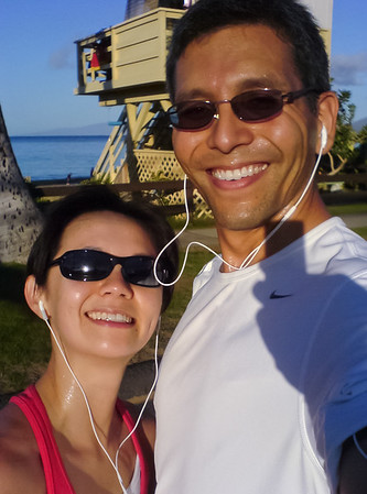 Valerie and I reach Kamaole Beach Park I, the turnaround point for our 10km