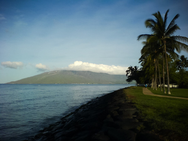 The view of West Maui from Kalama Beach Park