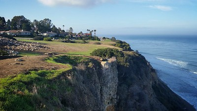Went to the cliffs where a friend recently took drone footage.  El Nino rain is helping the green return.