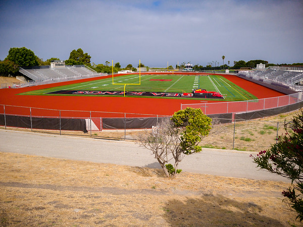 While I run by Peninsula High School reguarly (and had been using their track for speed workouts until the pandemic closed its campus), it's been some time since I last ran by PV High (and I usually do so on the opposite side of campus)
