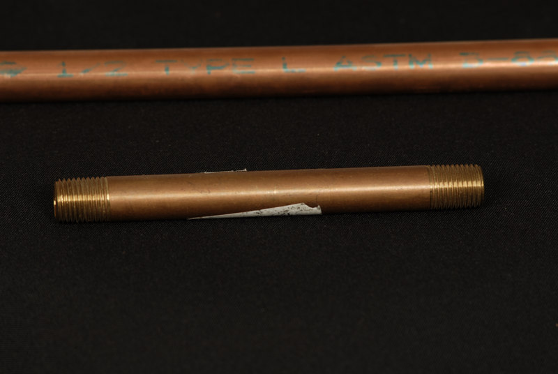 "Copper pipe 1/2"" with Bronze fitting 1/4""(inside) used to create spigot extension of various length and angle."