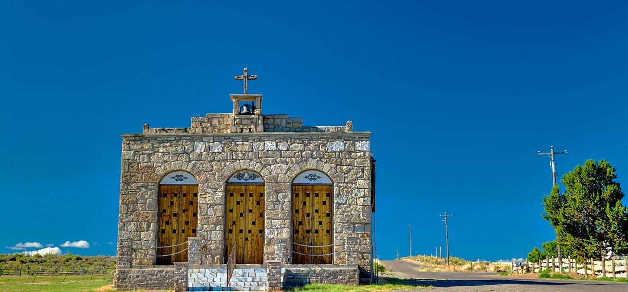 Very old Church in Oreana Idaho and country road
