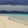 Beautiful white sands amidst a storm at Boracay, an hour flight away from Manila.