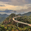HDR of the sky bridge on top of a mountain on Langkawi, Malaysia.