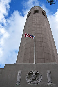 Looking up at Coit Tower from the entrance.