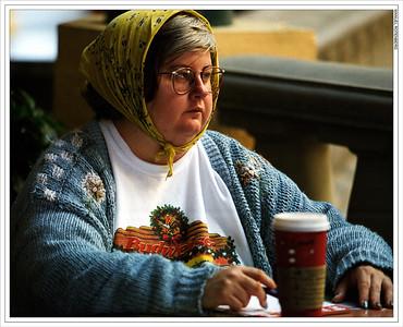 Coffee Drinker.  Bruegers's Bagel Shop.  La Jolla