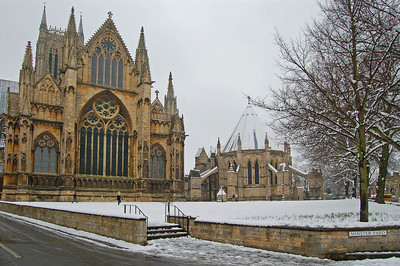 The East Front and Chapter House from Minster Yard. The first snowballers have just arrived!