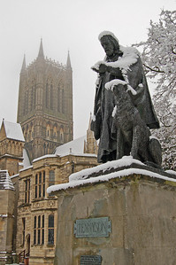 Tennyson and his faithful hound don't look too upset by the weather!