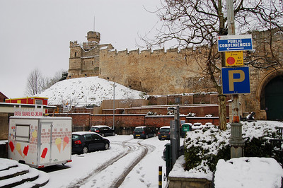 """The Castle, and some interesting signage. I love the big blue """"P"""" under the public conveniences sign. Also the """"no parking"""" at any time, immediately above the """"P"""" for parking!"""