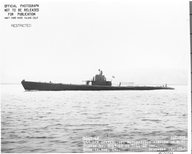 USS Pompano (SS-181)<br /> <br /> Date: December 19 1942<br /> Location: Mare Island CA<br /> Source: William Clarke - National Archives