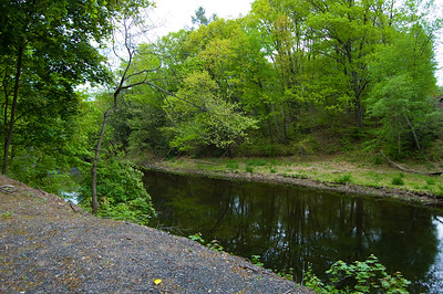 The Scantic river as viewed from the extreme end of our parking area.
