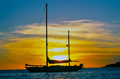 Cloud Nine, at sunrise, moored off Mololo Lailai, Mamanuca Islands. Fiji
