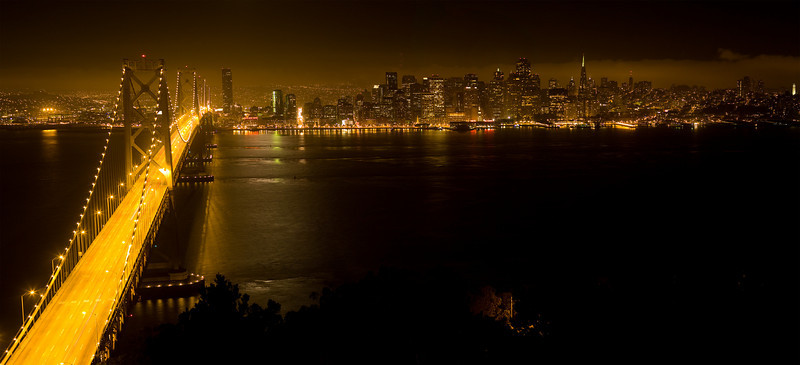 San Francisco from Treasure Island, taken from the height of the highest Bay Bridge tower.