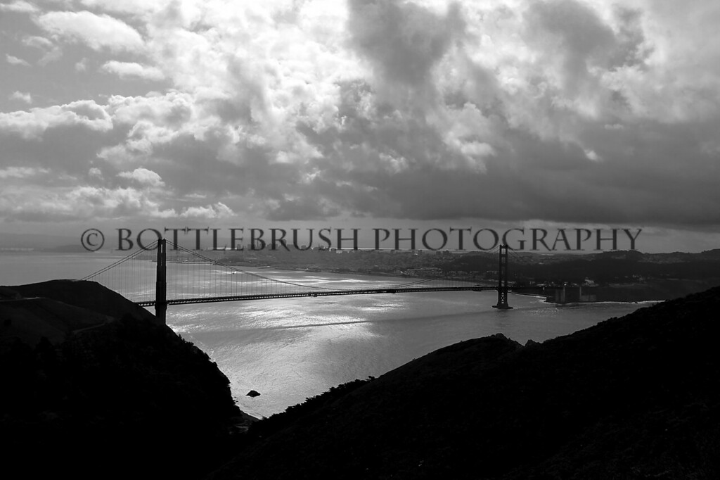 B&W of the Golden Gate Bridge and San Francisco Bay.