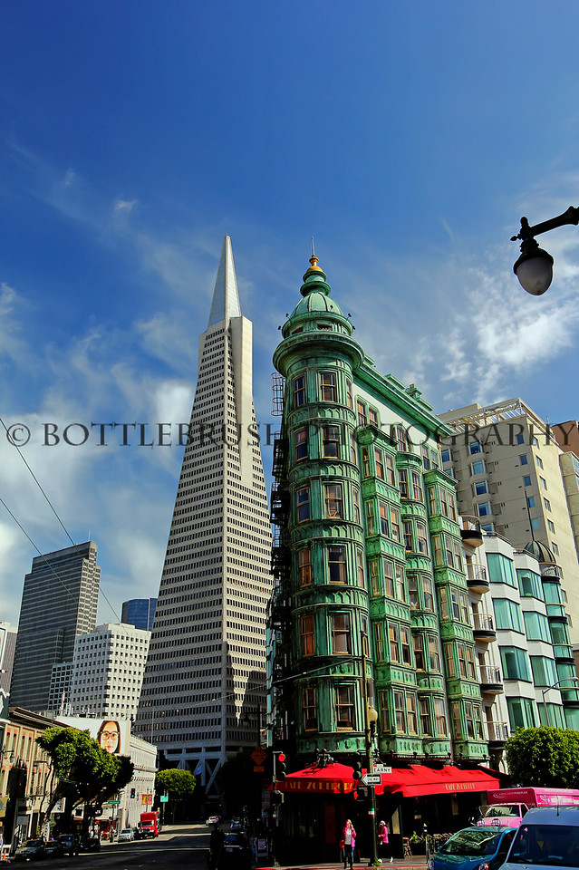 Columbus Tower (also known as the Sentinel Building) and the Transamerica Pyramid in San Francisco, California.