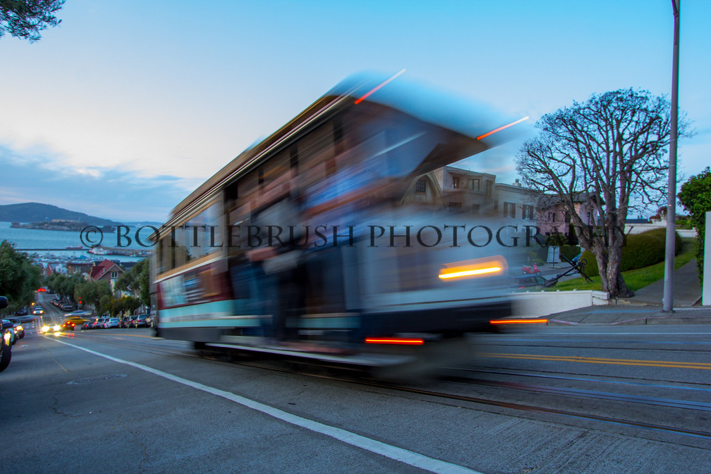Trolly zooming by in San Francisco.
