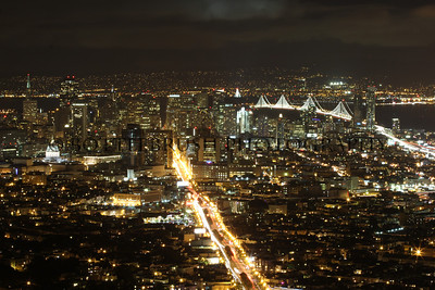 San Francisco skyline at night from Christmas Tree Point in Twin Peaks