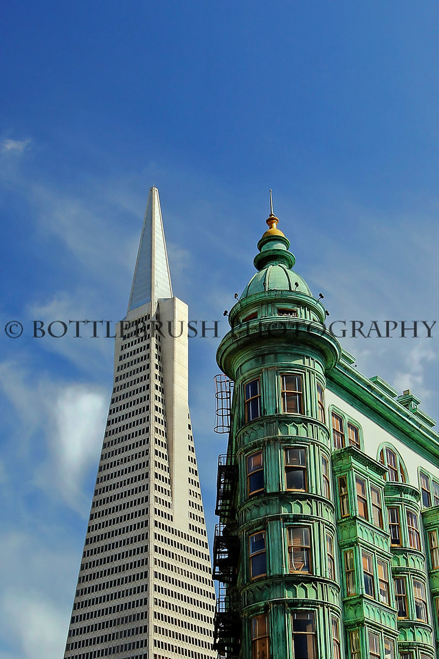 San Francisco's 1907 Columbus Tower with the 1972 Transamerica Pyramid.