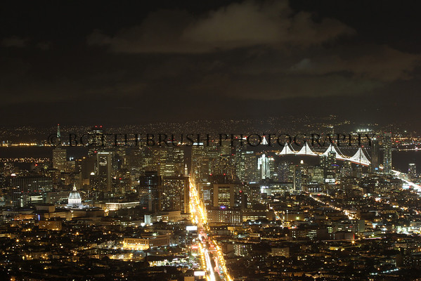 San Francisco skyline at night from Christmas Tree Point in Twin Peaks.