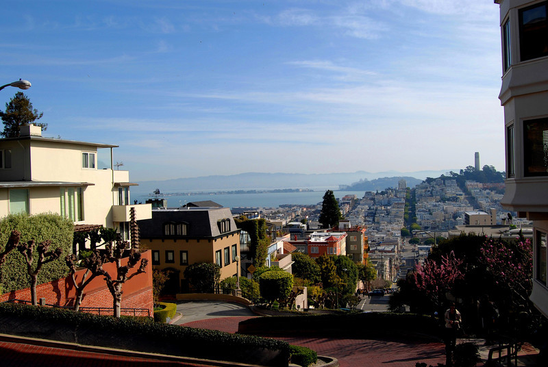View of Bay Area From Atop Lombard Street