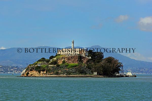 Alcatraz Island in San Francisco Bay, California.