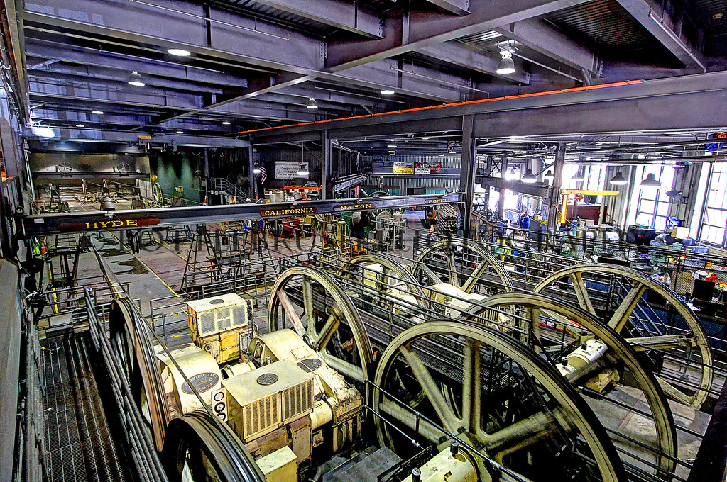 Inside the Cable Car Museum, San Francisco.  These engines and wheels are what pulls the cables so the cable cars are able to get around town.