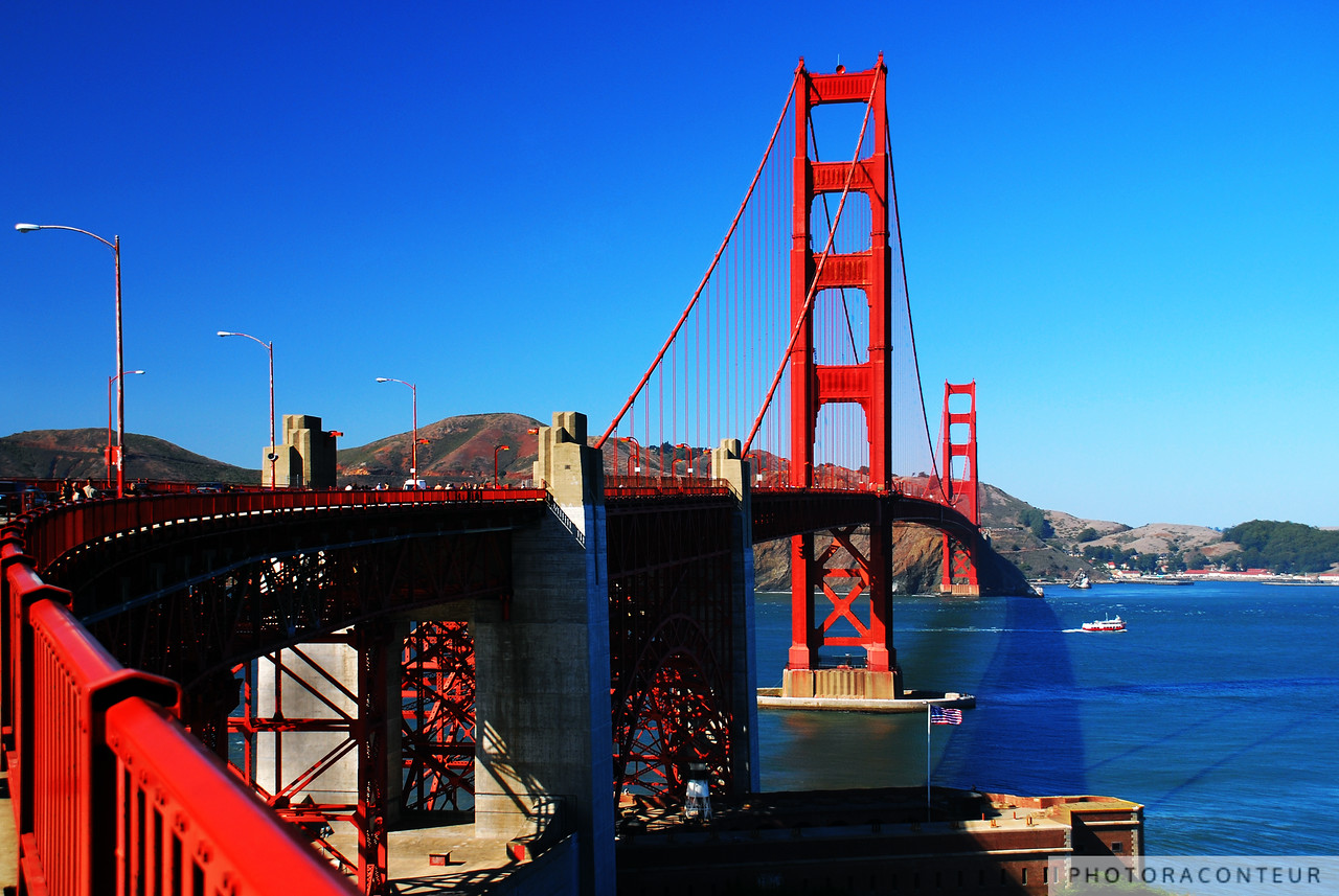 """Around the Bend"" ~ The majestic Golden Gate Bridge is just around the bend when approaching from the south."