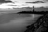 Walton Lighthouse at dawn, B&W.