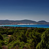 Sardinia, Italy. View from Porto Pino toward Spiaggia Bianca and the big white dunes.