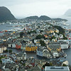 Bergen from above on a hillside.