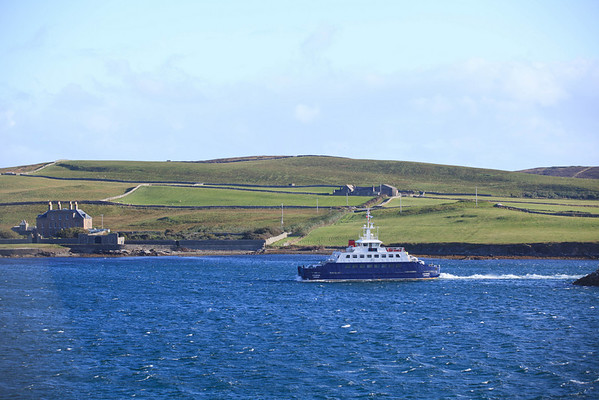 Local ferry connects the people who live on one of the many islands that make up the Shetland Islands.