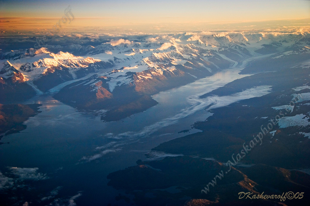 Sunrise over Barry Arm on left, College Fjord on right, Prince William Sound