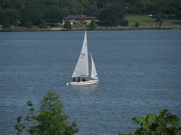 A lone sailboat moving wistfully across White Rock Lake (20080518_05565)
